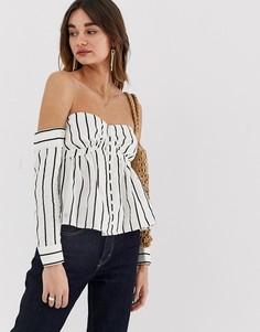 Блузка в полоску со спущенными плечами Lost Ink-Мульти