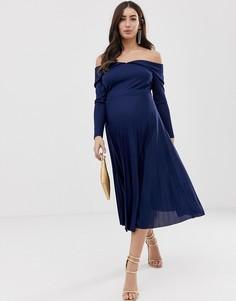 Плиссированное платье миди ASOS DESIGN-Темно-синий