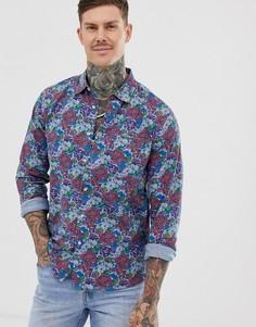 Свободная джинсовая рубашка с цветочным принтом ASOS DESIGN-Синий