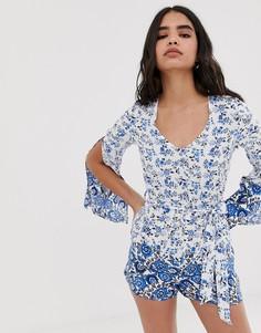 Ромпер с длинными рукавами и цветочным принтом Parisian-Синий