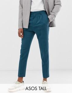 Сине-зеленые суженные книзу укороченные строгие брюки ASOS DESIGN Tall-Зеленый