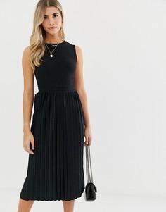 Фактурное платье миди с плиссированной юбкой ASOS DESIGN-Черный