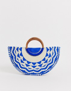 Синий клатч с вышивкой и деревянной ручкой Accessorize Josephina-Мульти