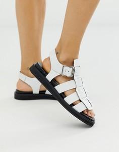 Белые кожаные сандалии-гладиаторы Bronx Bala-Белый