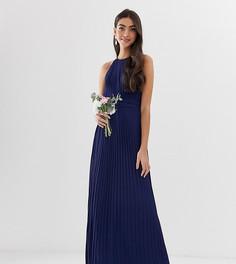 Темно-синее плиссированное платье макси с американской проймой эксклюзивно от TFNC Tall bridesmaid-Темно-синий