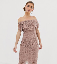 Кружевное платье-футляр серо-коричневого цвета с открытыми плечами Paper Dolls Petite-Коричневый