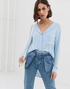 Рубашка с отложным воротником Selected Dynella-Синий
