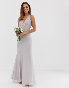 Платье макси с плиссировкой на лифе и юбкой-годе ASOS DESIGN Bridesmaid-Розовый