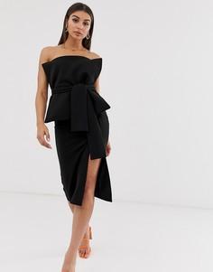 Платье миди бандо с поясом ASOS DESIGN-Черный