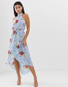 Платье миди с высоким воротом и цветочным узором AX Paris-Синий