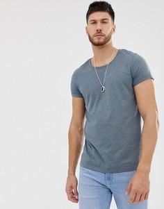 Синяя меланжевая футболка с глубоким вырезом и отворотами на рукавах ASOS DESIGN-Синий