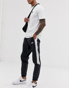 Черные джоггеры с контрастными полосками и манжетами Nike-Черный