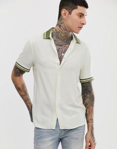 Светло-бежевая oversize-рубашка из вискозы с отделкой цвета хаки в рубчик ASOS DESIGN-Кремовый
