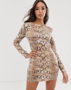 Платье с пайетками, завязкой сзади и змеиным принтом Rare London-Мульти