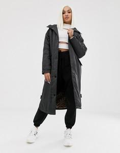 Длинное пальто на подкладке из искусственного меха ASOS DESIGN-Черный