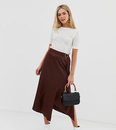Жаккардовая юбка миди с запахом спереди цвета шоколада Miss Selfridge-Коричневый