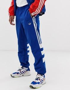 Синие джоггеры с 3 полосками и вставками adidas Originals-Красный