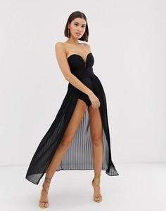Черное плиссированное платье-боди макси Rare London-Черный