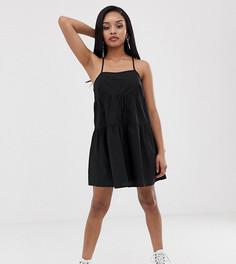 Свободное ярусное платье мини на бретельках COLLUSION Petite-Черный