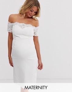 Белое платье миди с открытыми плечами и кружевом кроше Chi Chi London Maternity-Белый