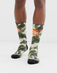 Зеленые носки с камуфляжным принтом и логотипом Reebok Crossfit-Зеленый