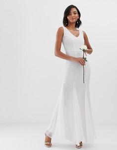 Платье макси с годе City Goddess - bridal-Белый