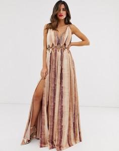 Атласное платье макси со змеиным принтом ASOS DESIGN-Мульти