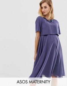Платье миди с кроп-топом и 3D-отделкой ASOS DESIGN Maternity-Синий