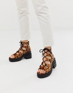 Туфли на среднем каблуке с леопардовым принтом и шнуровкой ASOS DESIGN - Sergio-Мульти