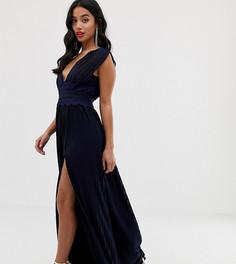 Плиссированное премиум-платье макси с кружевной вставкой ASOS DESIGN Petite-Темно-синий