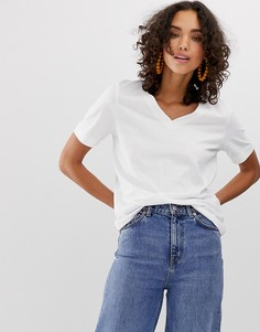 Белая футболка с V-образным вырезом Selected Femme-Мульти