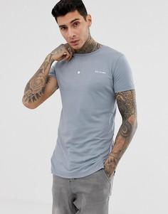 Серая длинная футболка с декоративной строчкой Religion-Серый