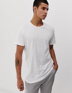 Белая длинная футболка с закругленным краем Jack & Jones Originals-Белый