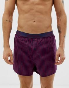 Бордовые тканые боксеры узкого кроя в полоску Calvin Klein-Красный