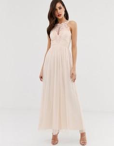 Платье макси из тюля с кружевом Little Mistress-Розовый