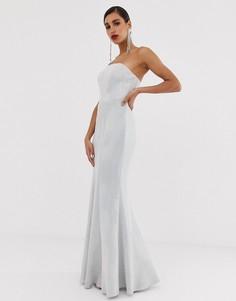 Платье без бретелек со съемной юбкой годе и блестками серебристого цвета Bariano-Серебряный