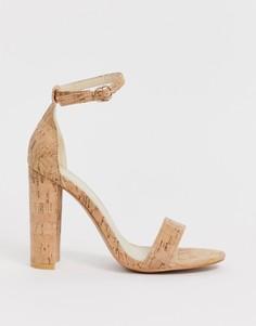 Босоножки на блочном каблуке Glamorous-Бежевый