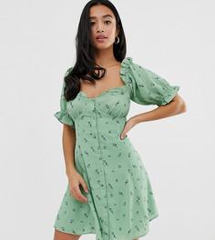 Платье мини на пуговицах с цветочным принтом ASOS DESIGN Petite-Мульти