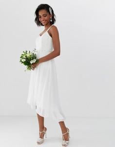 Свадебное платье миди с плиссировкой и отделкой на талии Ted Baker-Белый