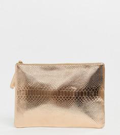 Розово-золотистый клатч с отделкой под змеиную кожу эксклюзивно от South Beach-Золотой