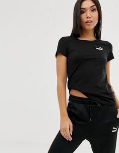 Черная футболка с небольшим логотипом Puma Essentials-Черный