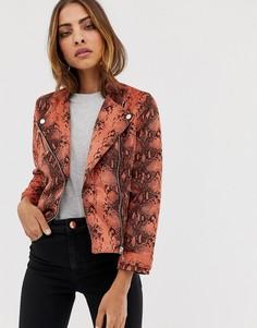 Байкерская куртка из искусственной замши с принтом под кожу змеи River Island-Красный