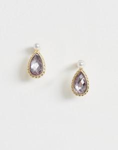 Серьги-гвоздики с камнями и жемчугом ASOS DESIGN-Золотой