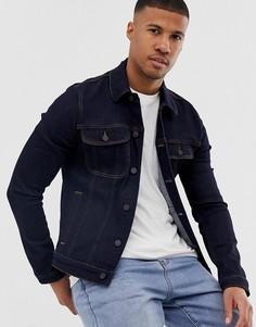 Темная приталенная джинсовая куртка в стиле вестерн ASOS DESIGN-Синий