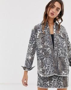 Джинсовая куртка в стиле милитари со змеиным принтом Only-Мульти