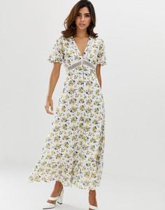 Чайное платье макси на пуговицах с цветочным принтом ASOS DESIGN-Мульти