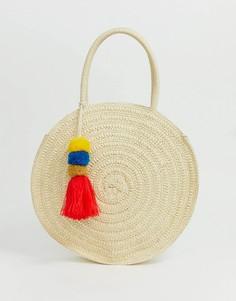 Структурированная соломенная пляжная сумка с помпоном и кисточкой South Beach-Кремовый