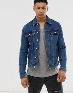 Приталенная выбеленная джинсовая куртка в стиле вестерн ASOS DESIGN-Синий