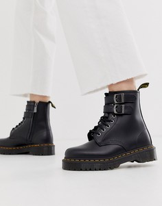 Черные кожаные ботинки на массивной подошве с пряжками Dr Martens-Черный