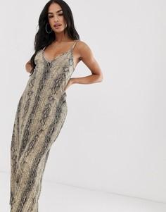 Платье макси на бретельках со змеиным принтом и глубоким вырезом ASOS DESIGN-Мульти